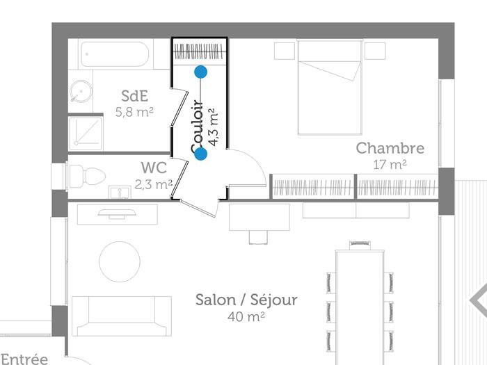 Emplacement SPOT couloir